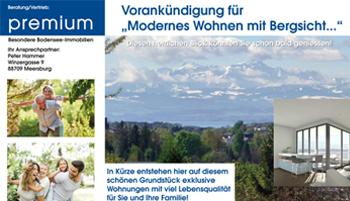 """VORANKÜNDIGUNG: """"Modernes Wohnen mit Bergsicht in Markdorf…"""""""