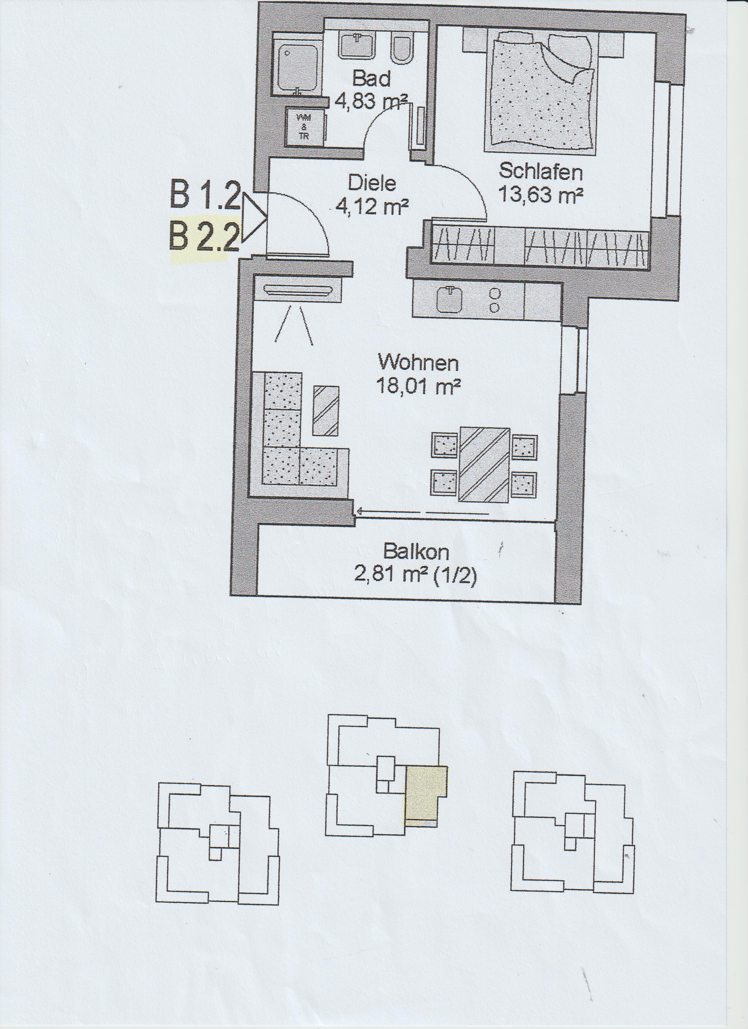 Meersburg, 2Zi-App. Grundriss